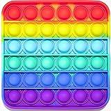 Pop it Fidget Toy   Juguete Antiestrés de Burbujas de Silicona para Niños y Adultos, Juego Relajante, Sensorial y Educativo, Alivia Estrés y Ansiedad, Push Pop Bubble Arcoíris Multicolor (Cuadrado)