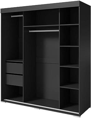 "Aria 3 Door 71"" Wide Modern High Gloss Wardrobe Armoire (Black with Mirror/Mirror)"