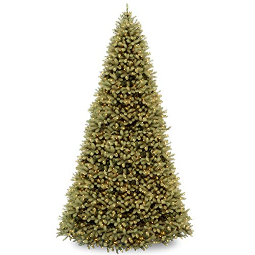 National Tree Company 'Feel Real' Pre-lit Artificial Christmas Tree | Includes Pre-strung White Lights and Stand | Downswept Douglas Fir - 12 ft