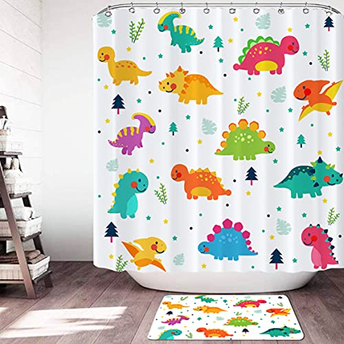 Cartoon Dinosaur Shower Curtain Sets with 12 Hooks Non-Slip Rug Cute Funny Animal Waterproof Bathroom Accessories for Bathroom Decor (White, 72 inch x 72 inch)