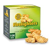 CHENCY 100% Natural Fire Starter, 108 Count Wood Firelighter, Wood Wool Fuel for Fireplace...
