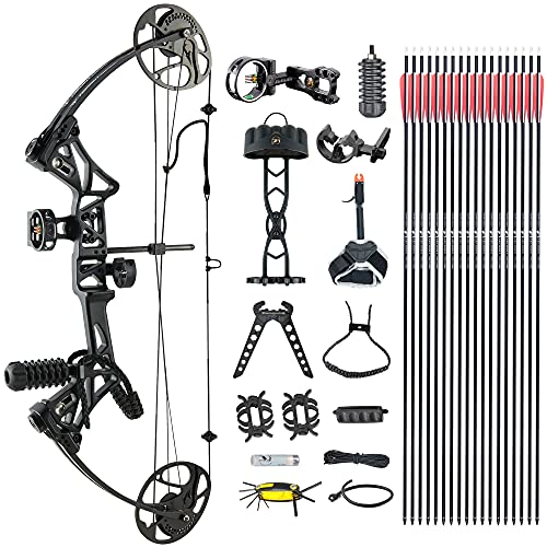 """N\C DJH Archery Compound Bow Package for Adults and Teens, 19""""-30"""" Draw Length,19-70Lbs Draw Weight,320fps IBO,Gordon Composites Limbs,Limbs Made in USA (Black)"""