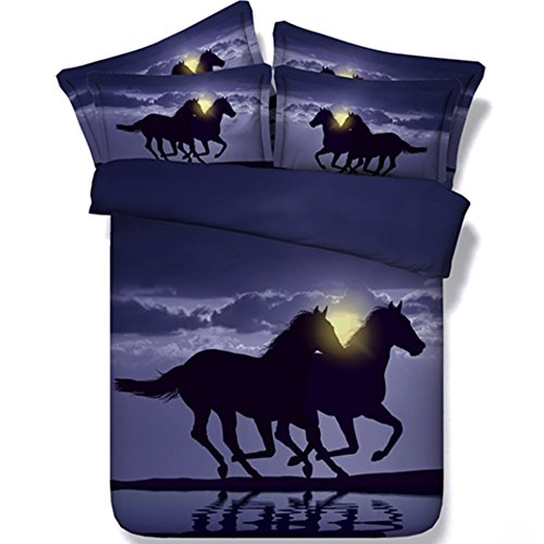 Alicemall Horse Bedding Two Running Horses Digital Printing Purple Bedding 4-Piece Duvet Cover Set, Twin/ Full/ Queen/ King US Size (Queen, Black)