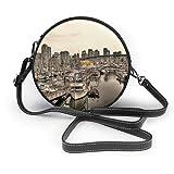 Borsa a tracolla rotonda in pelle classica marina, barca, città, urbano, porto, nautico, tempo libero