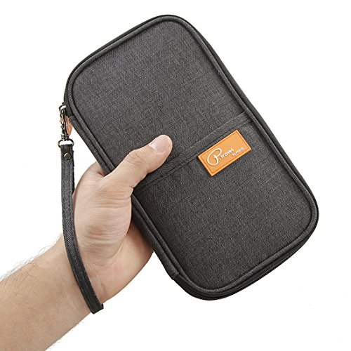 P.travel Passport Wallet Waterproof Family Travel Passport Holder Travel Document Organizer-Black
