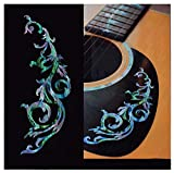 Gothic Line/DS (Abalone Mix) Traditional Vine Inlay Sticker Decals for Guitar & Bass Body