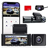 2K+1080P+1080P Dash cam, AZDOME 3-Channel (Front & Cabin & Rear) 3.19'' IPS Built in GPS WiFi Car Dash Camera, 4K+1080P Dual Camera, Sony IMX307 Night Vision, Loop Recording,Parking Mode,Support 128GB
