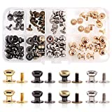 Swpeet 48Sets 4 Colors 8x10x10mm Chicago Screws Round Head Button Stud Slotted Screws Nail Rivet Leather Rivets Craft Belt for DIY Craft Leather Craft Repairs Decoration