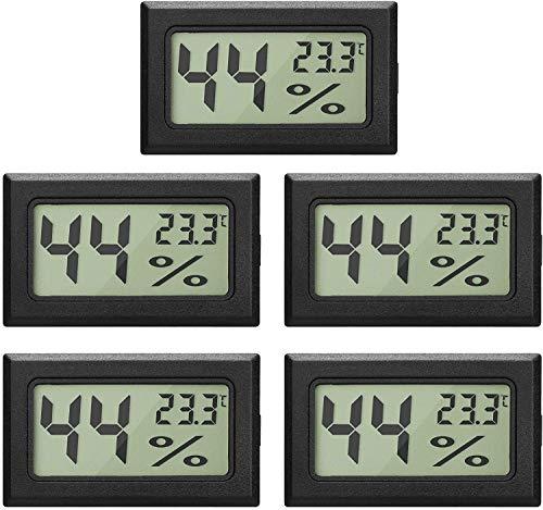 Topcloud LCD Digital Hygrometer Thermometer, Mini Digital Temperaturmesser Feuchtigkeitsmesser für Gewächshausautos Home Office, Schwarz (5pack)