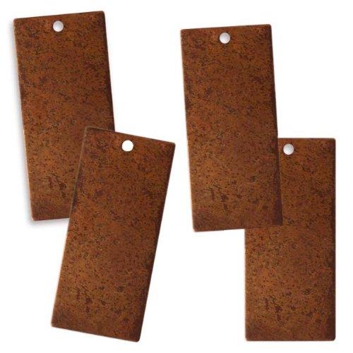 Vintaj Anhänger, Kupfer, blanko, rechteckig, zum Prägen, 23 x 12,5mm, 4 Stück