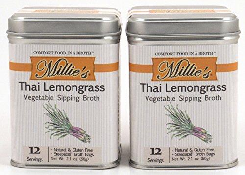Millie's All Natural Organic Gluten-Free Vegetable Sipping Broth 12 Tea Bags each Thai Lemongrass (2-Pack)