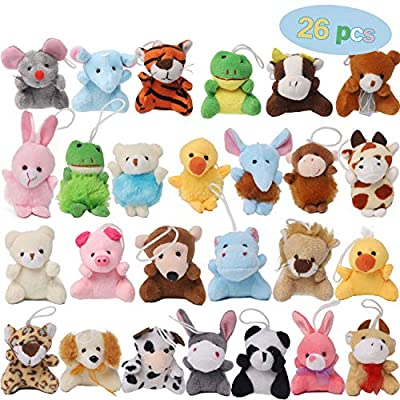 Juegoal 26 Pack Mini Animal Plush Toy Set, Aitbay Cute Small Stuffed Animal Keychain Set, Goodie Bag Fillers, Carnival Prizes for Kids, Assortment Kids Valentine Gift Easter Egg Filter Party Favors