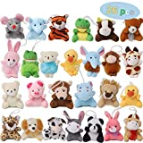 Juegoal 26 Pack Mini Animal Plush Toy Set, Cute Small Stuffed Animal Keychain Set, Goodie Bag Fillers, Carnival Prizes for Kids, Assortment Kids Valentine Gift Easter Egg Filter Party Favors