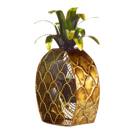 DecoBREEZE Decorative Table Fan, Desk Fan, Two Speed Electric Tabletop Fan, Figurine Fan, 7 inch, Pineapple, Copper