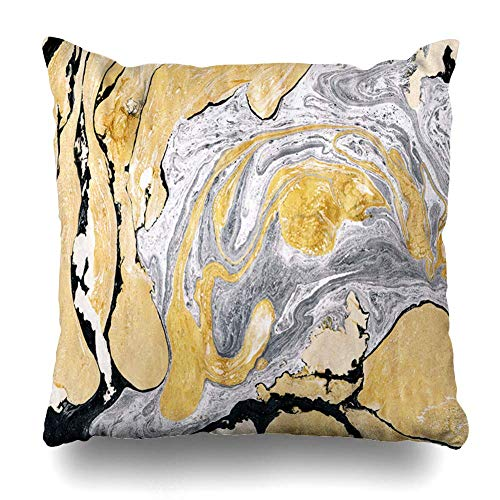 N / A Throw Cushion Cover,Pillowslip,Square Pillow Cover,Pillowcase,Canvas Gray Gold Golden Silver Marble Ink Yellow Abstract Black White Nature Splash Paint Marbled Cushion Case