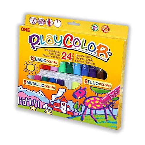 Playcolor 2041 - Estuche de 24 colores de témperas sólidas, color