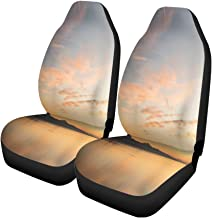 Pinbeam Car Seat Covers Scenic View of Sunset Over The Leman Lake Pink Set of 2 Auto Accessories Protectors Car Decor Universal Fit for Car Truck SUV
