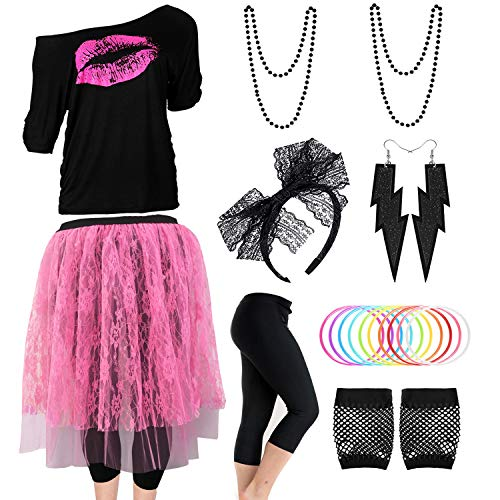 80s Outfits Costume Accessories for Women,Pink Lips Off Shoulder T-Shirt, Lace Skirt,Leggings for 80s Costumes,Black,S