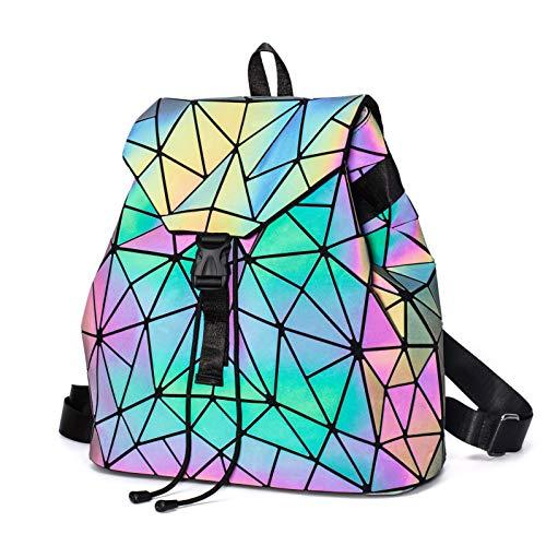 Geometrischer Rucksack Damen Leuchtend Holographic Taschen Lumikay Geldbörse und Handtasche Farbwechse Daypack Taschen NO.2