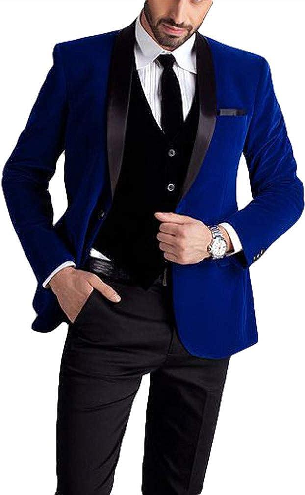 Men's One Button Royal Blue Suit Black Velvet Vest Jacket Pants Popular brand in the world Jacksonville Mall