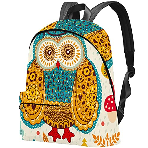 Lightweight Travel Casual Rucksack Floral Lovely Owl Laptop Daypack for Adults and Unisex Backpack College Schoolbag