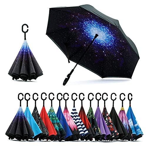 Paraguas invertido doble capa C forma mango inverso plegable anti viento cielo estrellado lluvia paraguas viaje al aire libre