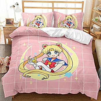 Yumhi 3D Sailor Moon Bedding Set Twin Size 2 Piece Japan Anime Duvet Cover Set for Girls Kids No Comforter 1 Duvet Cover with 1 Pillowcases