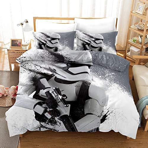 POMJK Star Wars Juego de ropa de cama de microfibra de lujo de cuidado fácil de 3 piezas 1 funda nórdica 2 fundas de almohada (A02, individual 140 x 210 cm + (80 x 80 cm) × 2)