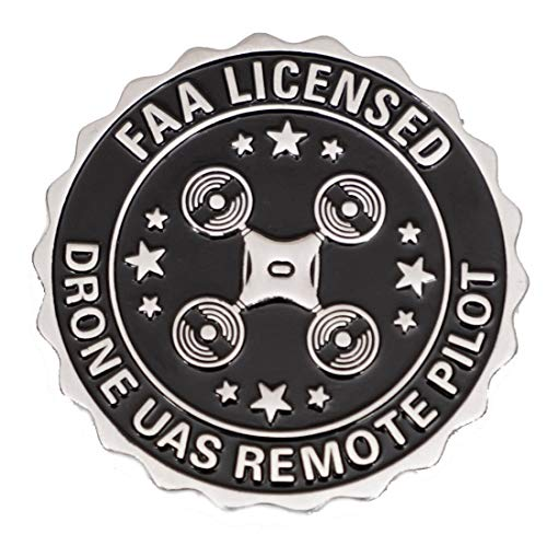 Silver Color - Large 1.75' - Drone Accessories Badge Pin FAA Licensed UAS Remote Pilot