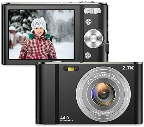 Vnieetsr Fotocamera digitale compatta 2.7K Full HD 44MP Fotocamera con zoom 16X con fotocamera tascabile con schermo LCD IPS da 2,88 pollici per bambini, studenti, scuola, bambini, fotografia