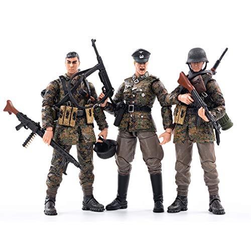Likecom 1/18 Soldaten Modell, 10,5 cm Wehrmacht Soldat Actionfigur Modell (3 Modelle) aus dem Zweiten Weltkrieg - Frühlingstarnung