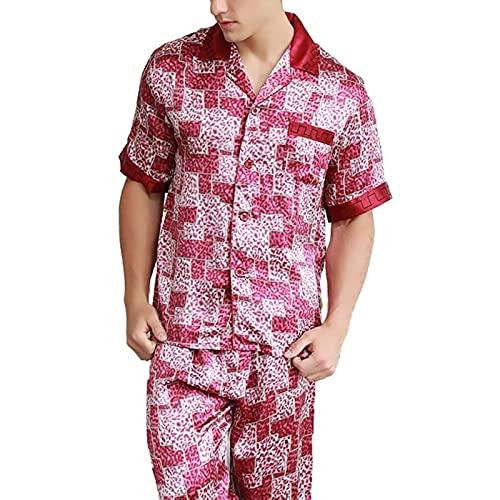 JYCDD Pijamas de Seda para los Hombres de Primavera y otoño de Seda de Mora Traje de Dos Piezas de Verano de sección Delgada de Manga Larga Impresa Ropa de casa de los Hombres,Rojo,XXL