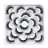 False Eyelashes 10 Pairs - Professional Reusable 3D Mink Lashes - Natural Thick Fluffy Fake Eyelashes Faux Mink Eyelashes (Bomb,10 Pairs)