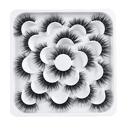 Leipple False Eyelashes 10 Pairs - Professional Reusable 3D Mink Lashes - Natural Thick Fluffy Fake Eyelashes Faux Mink Eyelashes