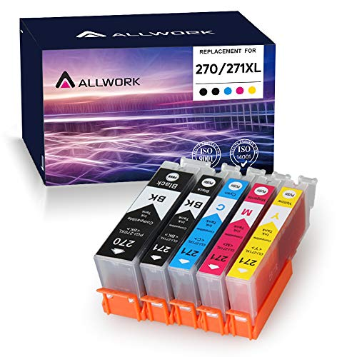 Allwork PGI270XL CLI271XL Compatible Ink Cartridges Replacement for Canon 270 271 PGI-270XL CLI-271XL Works with Canon PIXMA TS6020 9020 5020 8020 MG7720 6821 5720 6820 5722 6800 5700 6822 5(KKCMY)