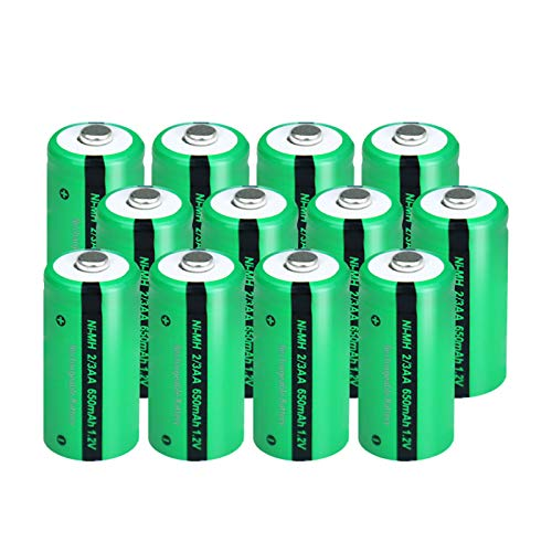 2/3AA Size NIMH Rechargeable Battery 1.2V 650mah Button-Top Battery 12Pcs