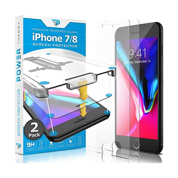 Power Theory iPhone 8 / iPhone 7 Glass Screen Protector [2-Pack] with Easy Install...