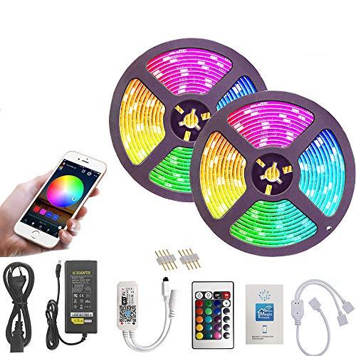 10M Striscia LED WiFi, RGB LED Strip 5050 SMD 300 LEDs (2 x 150), Sync con Musica, Impermeabile IP65, Smart Telefono App Controllato LED Band, Lavoro con Alexa, Google Home (10M Striscia LED WiFi)