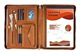 Leather Portfolio, Calfinder Portfolio Binder for Men/Women, Crazy-Horse Leather Portfolio Folder with Handle, Laptop Carrying Case for ipad/MacBook (Up to 13.3'), Notepad, Phone and Cards