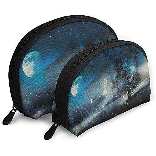 Nacht Winter Schneelicht Winter Tragbare Taschen Kosmetiktasche Kulturbeutel Multifunktions Tragbare Reisetaschen mit Reißverschluss