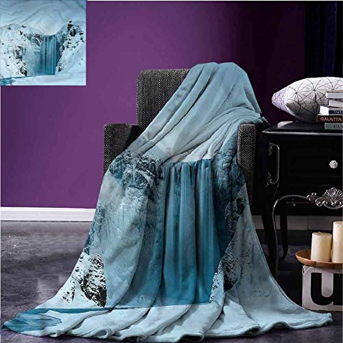 Mannwarehouse Waterfall Blankets Flannel Blanket Mountains with Snow Lightweight Plush Microfiber Blanket for Couch Bed Chair W80 xL60
