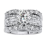 Platinum over Sterling Silver Round and Baguette Cubic Zirconia 3 Piece Bridal Ring Set Si...