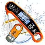 HONJAN Instant Read Food Thermometer Waterproof for Kitchen Cooking with Backlight and Calibration Feature(Orange)