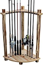 Rush Creek Creations Rustic Log 12 Fishing Rod Storage Corner Rack - Handcrafted Solid Pine - No Tool Assembly, wood (37-0029)
