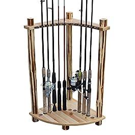 Rush Creek Creations Support d'angle rustique pour 12 cannes à pêche – Sans outil – Pour adulte – En bois