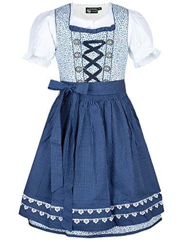 MADDOX Kinderdirndl Mimmi Set weiß blau Blümchenprint Pünktchenschürze (weiß blau, 146)