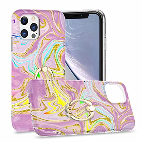 para iPhone 12 Mini caso con soporte de anillo, ultra delgado cristal mármol elegante fundas protectoras delgadas a prueba de golpes duro silicona cubierta del teléfono para iPhone 12 Mini polvo