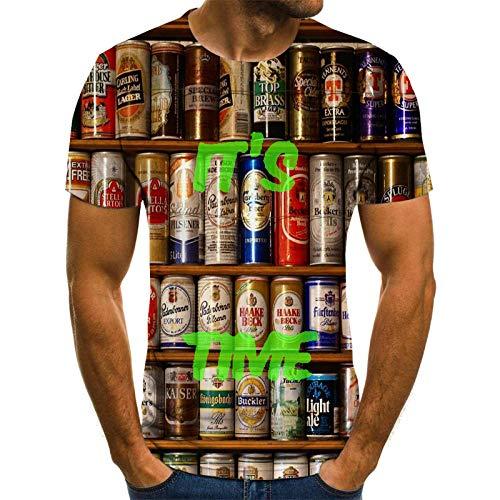 Bier Fles Unisex T Shirt Zomer 3D Gedrukt Korte Mouw Top Tee Hawaiiaanse Shirt voor Mannen Jongens Tieners