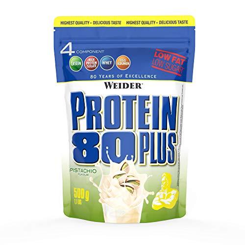 WEIDER Protein 80 Plus Eiweißpulver, Pistazie, Low-Carb, Mehrkomponenten Casein Whey Mix für Proteinshakes, 500g