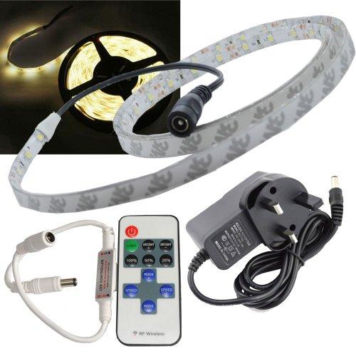 JnDee™ Kit complet de bande LED étanche à intensité variable Blanc chaud 1 m + transformateur/alimentation + variateur d'intensité sans fil RF avec télécommande